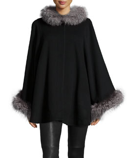 Fur-Collar Wool-Cashmere Cape