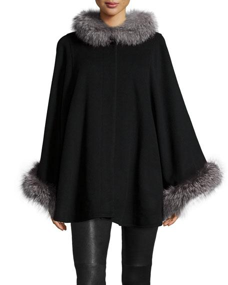 Sofia CashmereFur-Collar Wool-Cashmere Cape