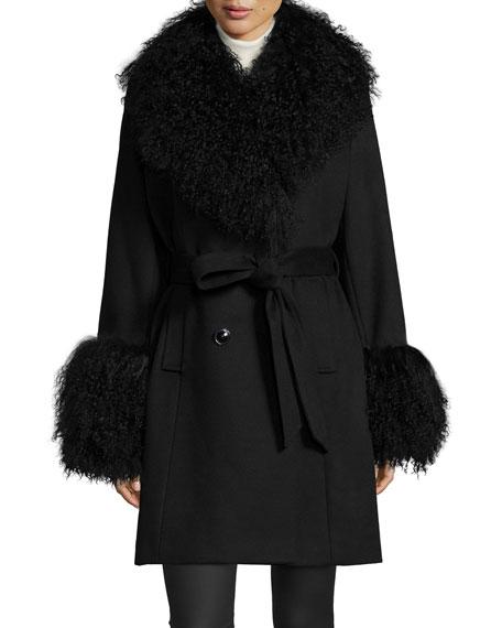 Wool-Cashmere A-line Coat W/ Mongolian Lamb Fur