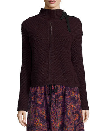 Auger Tie-Neck Sweater, Bordeaux
