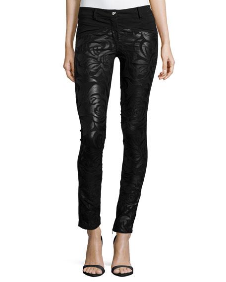 Low-Rise Floral-Print Leather Pants, Black