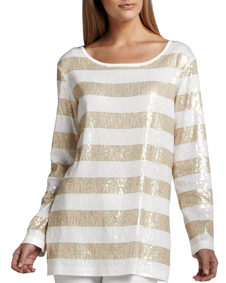 Joan Vass Sequin Striped Tunic, Petite
