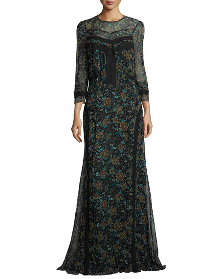 Veronica Beard Keene Floral-Print Silk Maxi Dress
