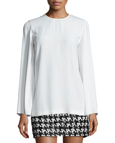 Maud Long-Sleeve Top, White