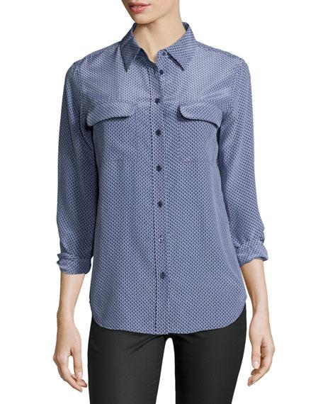 Equipment signature slim printed silk blouse neiman marcus for Equipment signature silk shirt