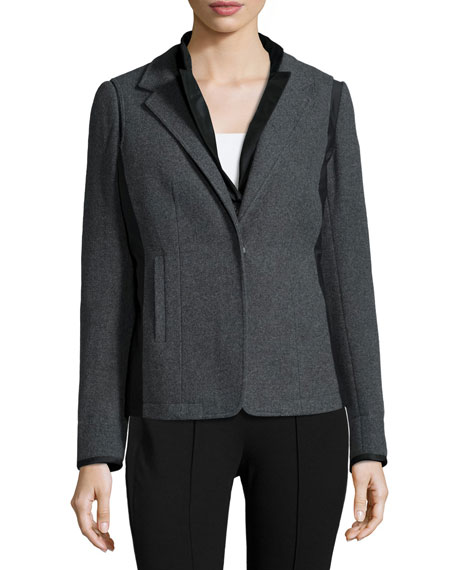 Lafayette 148 New York Long-Sleeve Reversible Jacket, Eclipse Melange
