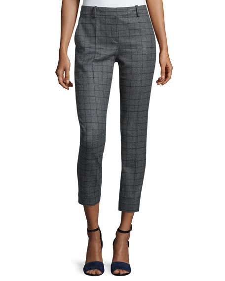Theory Treeca Slim Cropped Pants, Charcoal