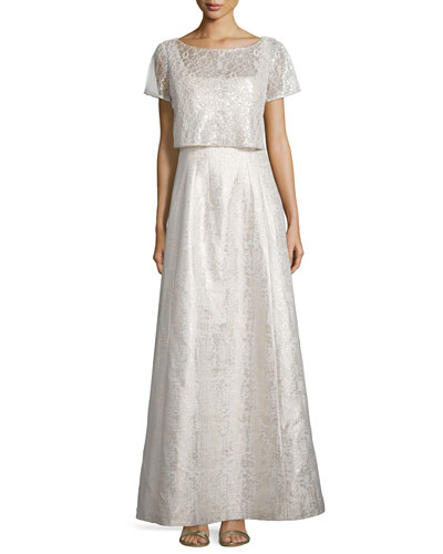 Short-Sleeve Two-Piece Lace Gown, Champagne