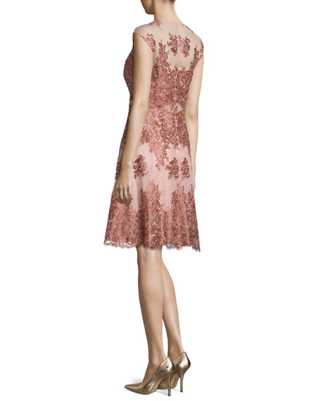 Sleeveless Lace Tulle Cocktail Dress