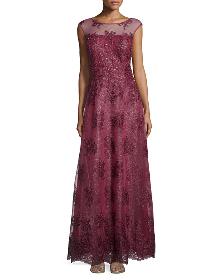 Kay Unger New YorkCap-Sleeve Sequined Gown, Wine