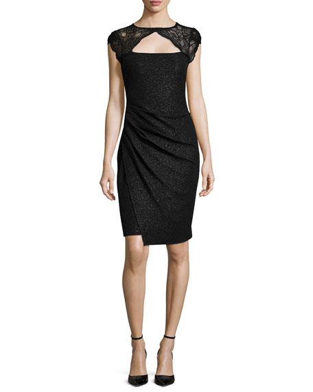 Kay Unger New York Cap-Sleeve Faux-Wrap Dress
