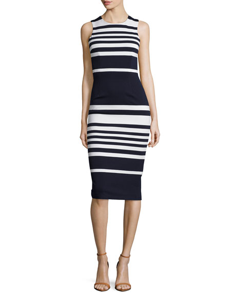 NICHOLAS Positano Stripe Cross-Back Sheath Dress, White/Black