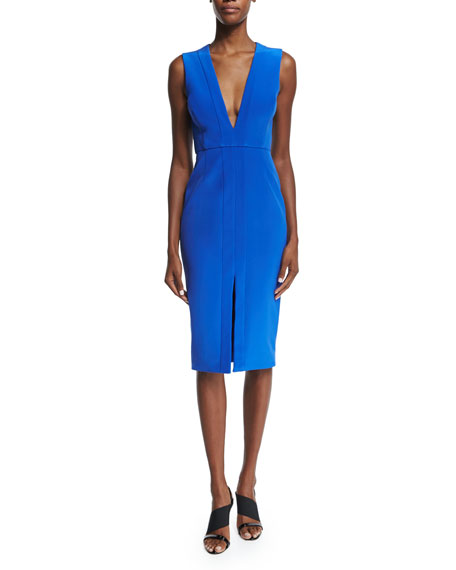 Nicholas Sleeveless V-Neck Sheath Dress, Royal
