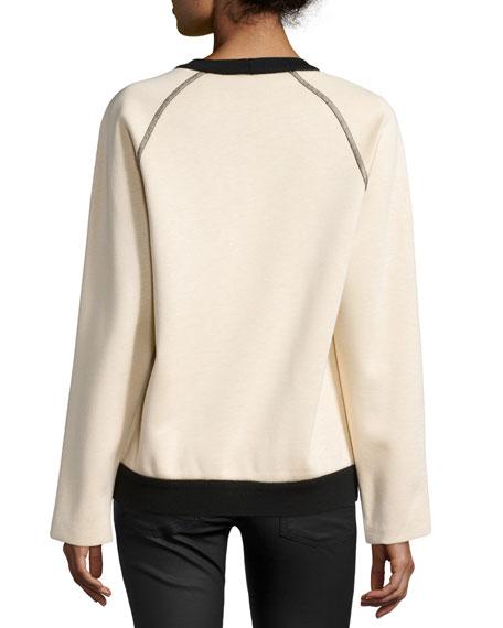 Long-Sleeve Combo Sweatshirt, Peach/Black