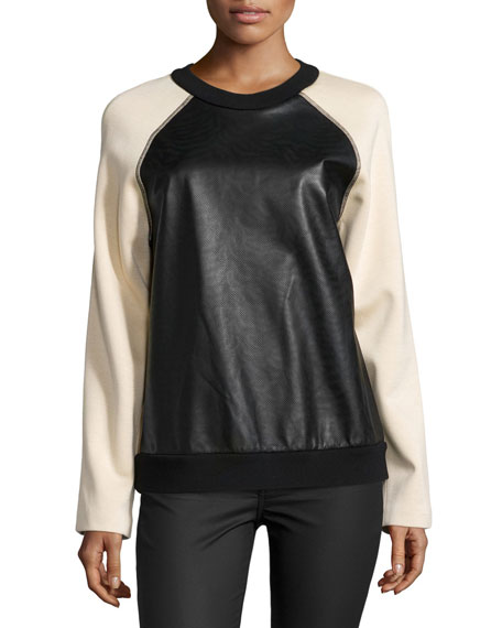 Proenza Schouler Long-Sleeve Combo Sweatshirt, Peach/Black