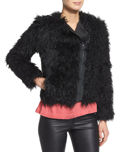 Vianna Faux-Fur Zip Jacket, Noir
