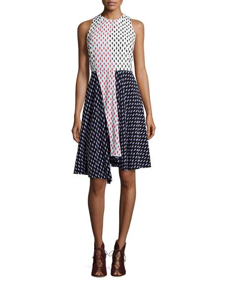 Tanya Taylor Parton Printed Colorblock A-Line Dress
