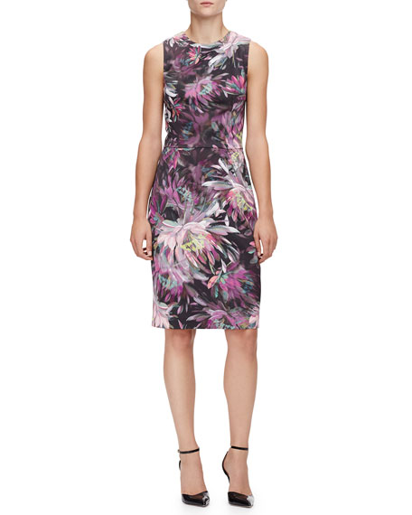 Sleeveless Floral-Print Sheath Dress