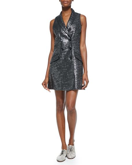 Marissa Webb Beckette Shimmer Tweed Vest Dress, Lead