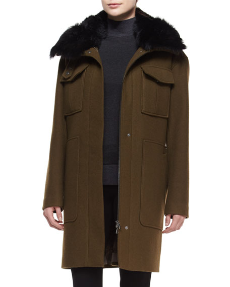 Theory Yvoia Bolton Coat W/Fur Trim, Army