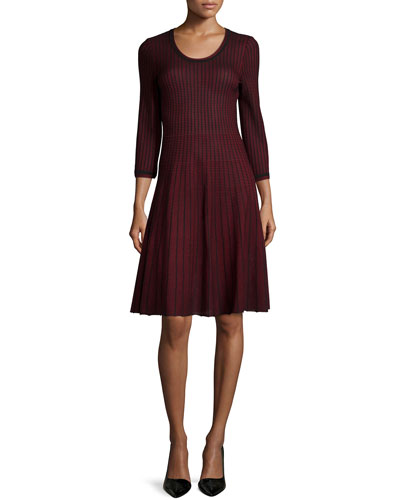 Scoop-Neck Flare Dress, Petite
