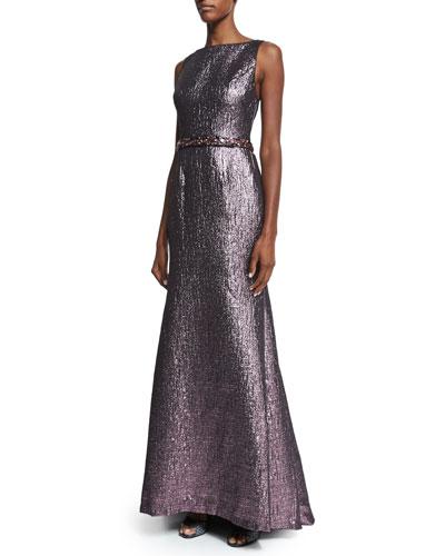 Sleeveless Metallic Beaded-Waist Mermaid Gown