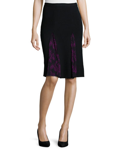 Zip-Front Slim Skirt W/ Lace Inset