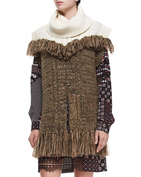 Thakoon Addition Sleeveless Fringe Tunic, Ivory/Brown