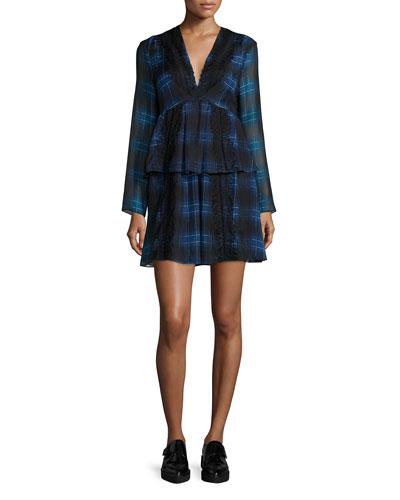 Tiered Plaid Silk & Lace Dress, Blue Multi