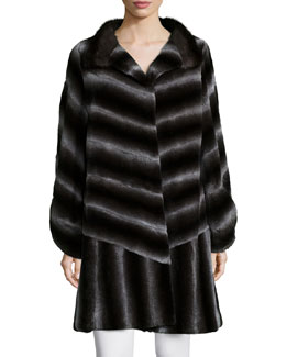 Long-Sleeve Two-Tone Striped-Fur Coat