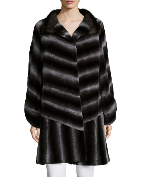 Belle Fare Long-Sleeve Two-Tone Striped-Fur Coat