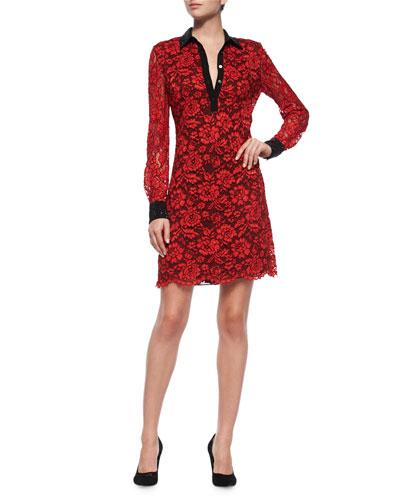 Long-Sleeve Floral Lace Shirtdress, Poppy/Black