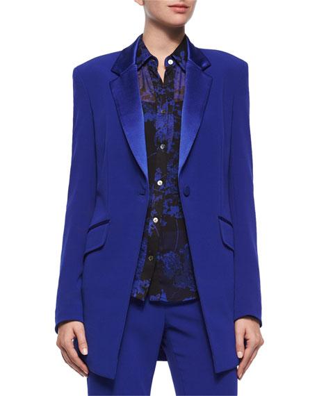 Diane von FurstenbergLong-Sleeve Smoking Jacket, Cosmic Cobalt