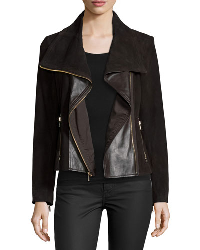 Suede Jacket W/Leather Panels, Chocolate Brown