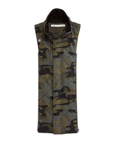Quilted Camouflage Bomber Dickey, Black