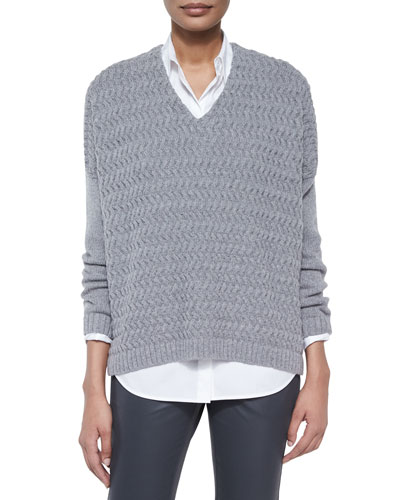 Wave-Stitch Combo Sweater