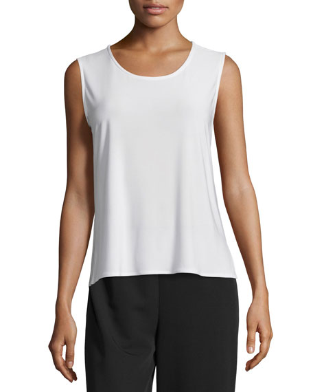 Caroline Rose Basic Knit Tank, White, Plus Size
