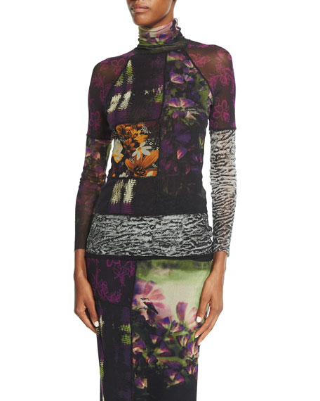 Mixed-Print Long-Sleeve Turtleneck
