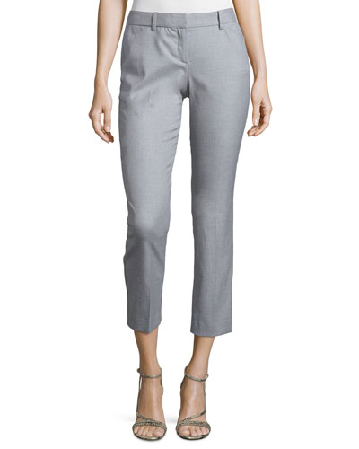 Izelle S. Stretch Cropped Pants, Light Leather