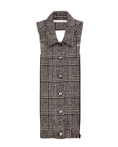 Button-Front Plaid Dickey