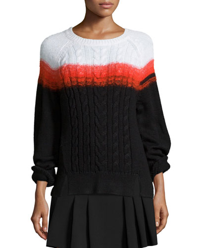Crewneck Ombre Cable-Knit Sweater