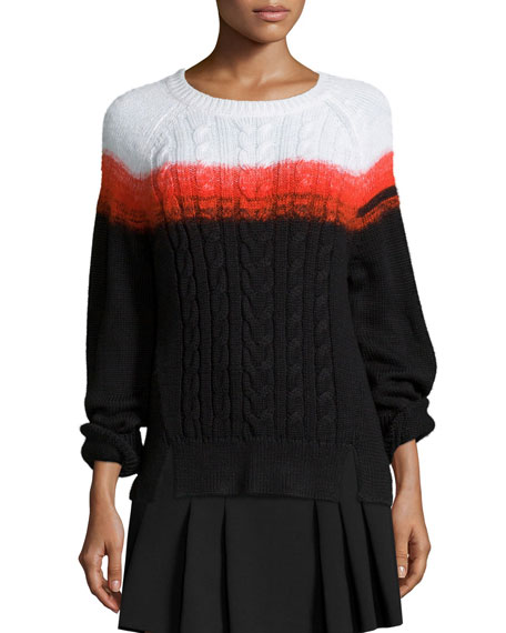 Shoshanna Crewneck Ombre Cable-Knit Sweater