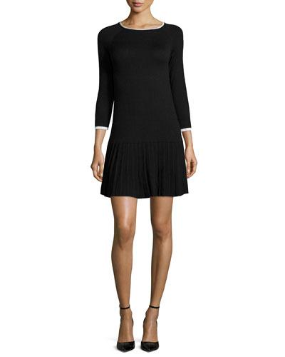 3/4-Sleeve Pleated-Skirt Dress