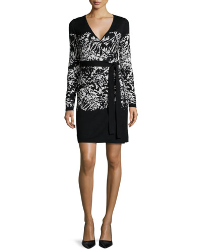 Leandra 3/4-Sleeve Leaf-Print Dress