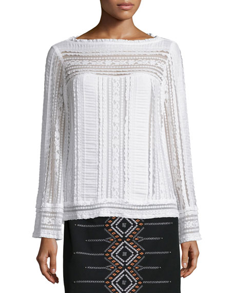 Nanette Lepore Long-Sleeve Embroidered Peasant Top