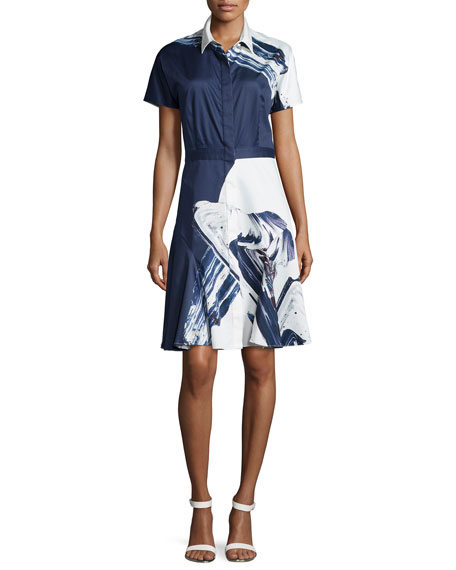 Short-Sleeve Flared Shirtdress, Navy