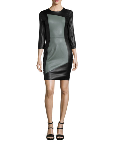 Prabal Gurung 3/4 SLV COMBO SHEATH DRESS