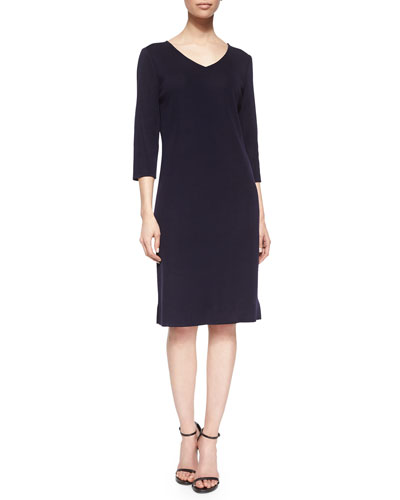 3/4-Sleeve V-Neck Dress