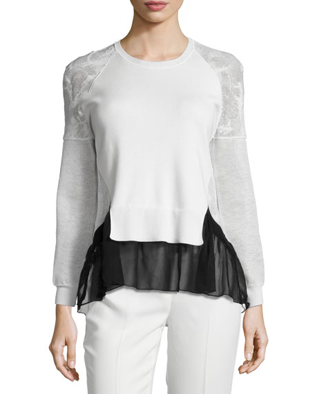 Prabal Gurung Jewel-Neck Long-Sleeve Top, Black/White