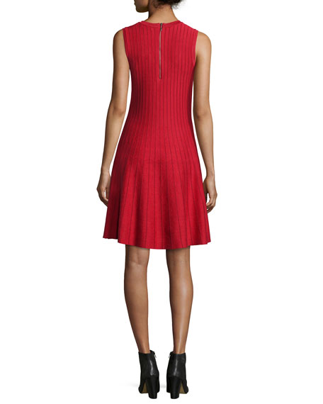 Plus Size Twirl Sleeveless Knit Dress, Red